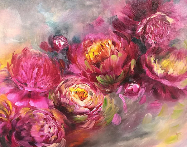 Floral Movement Original Art   evoartmaui