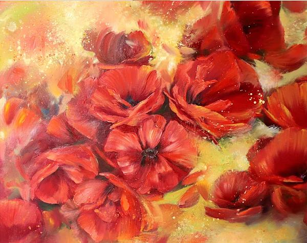 Poppies Original Art   evoartmaui