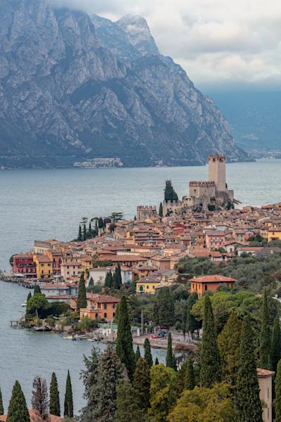 Castello Scaligero, Lake Resort, harbour, Castle, Mountains