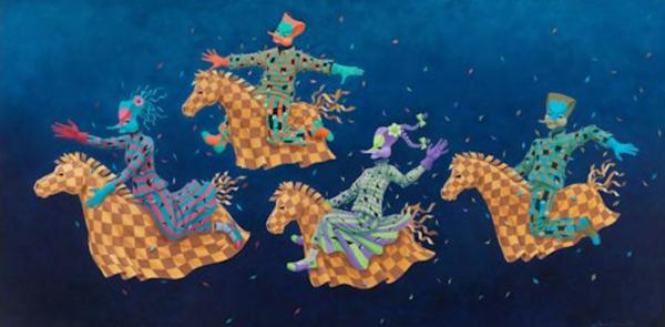 Maui Art Gallery features Claudio Souza Pintos festive, surrealistic paintings.