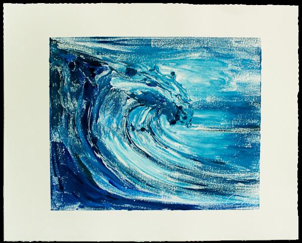 Blue Wave Iii   Monotype Art | Candace Ceslow Art