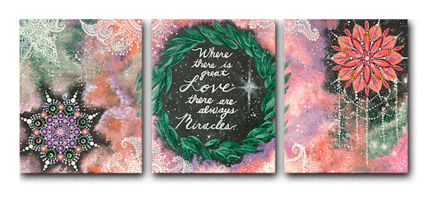 """Miracles"" fine art canvas triptych by Sonia Elizabeth."