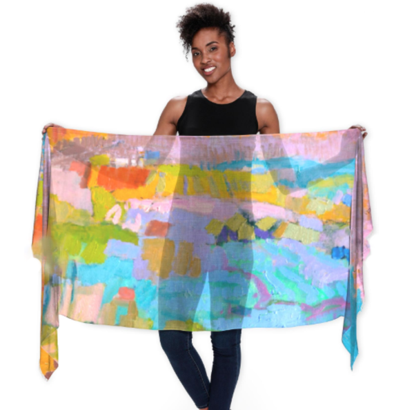 Jewel Tones Abstract Scarf by Dorothy Fagan