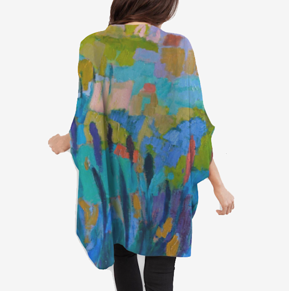 Blue Teal Abstract Cocoon Wrap by Dorothy Fagan