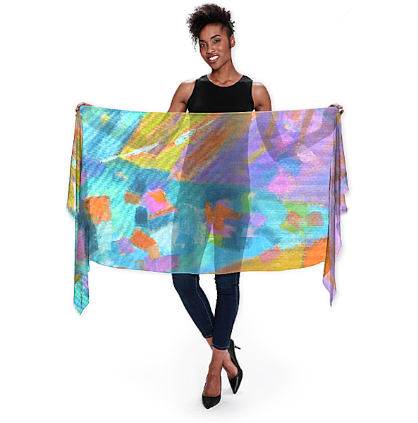 Artsy Wrap Scarf Jewel Tone Teal by Dorothy Fagan