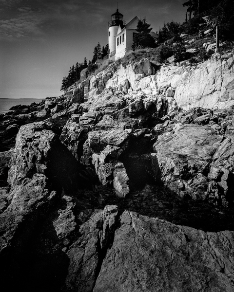 Fine Art Print | Bass Harbor Head Lighthouse in B&W