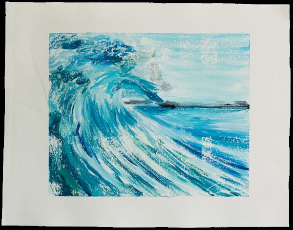 Blue Wave Iv   Monotype Art | Candace Ceslow Art
