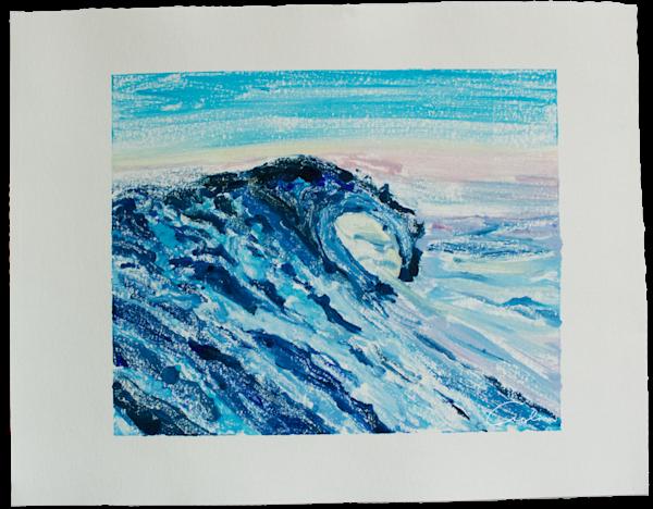 Blue Wave V   Monotype Art | Candace Ceslow Art