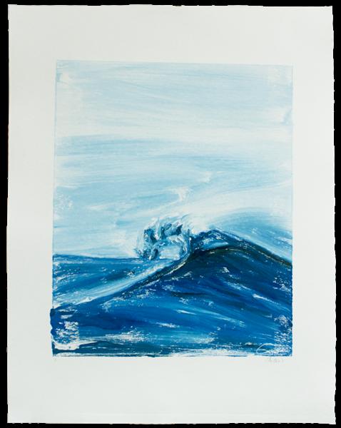 Blue Wave Vi   Monotype  Art | Candace Ceslow Art