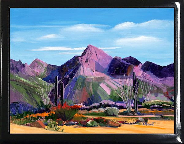 Pink Ocotillo at Pusch Ridge Black Keepsake Box | Madaras Gallery