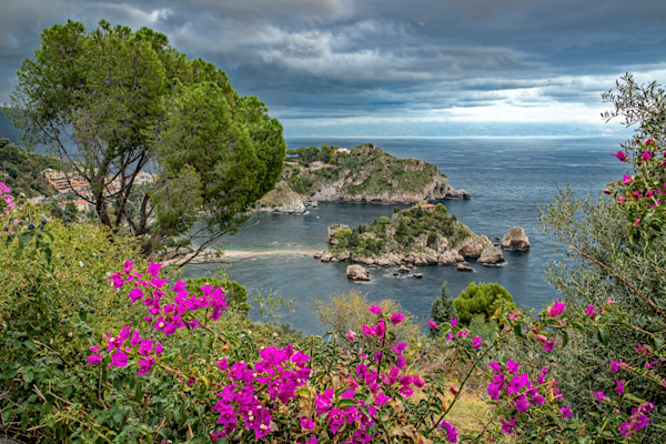 Bougainvillea's,  Pearl of the Ionian Sea, nature reserve, World Wide Fund for Nature, Taormina, Sicily, Italy