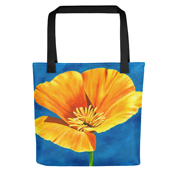 "Stylish, colorful tote bags with original artwork ""Radiance"" - a golden poppy, by Mary Anne Hjelmfelt printed on them."