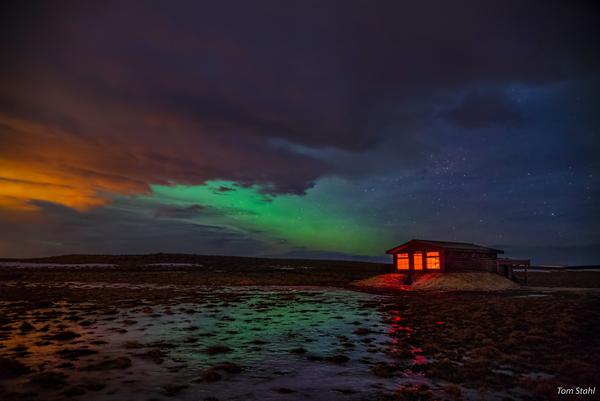 Hotel Ranga observatory and aurora borealis, Iceland, 2016.