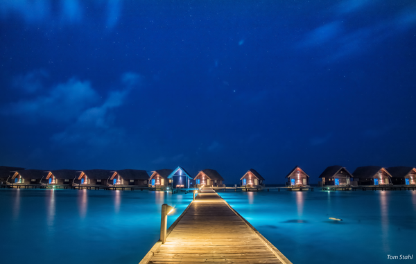 Pier at night, Maldives, 2016.