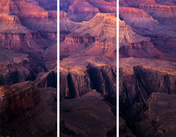 Fine Art Tri-Panel Print of Grand Canyon at Dusk