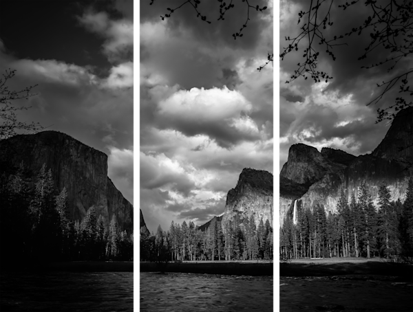 Fine Art Multi-Panel Print in Black and White of Yosemite's Gates of the Valley.