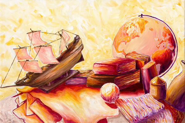 Original Art: Sunbathing | Vibrant Still-Life - Tufano's Gallery