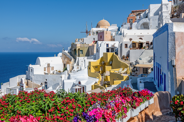 Aegean islands, Cyclades,  caldera, Oia, Santorini, Greece