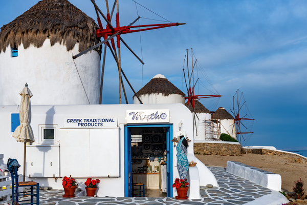 mill wheat, windmills, Cyclades islands, Aegean Sea, Mykonos, Greece