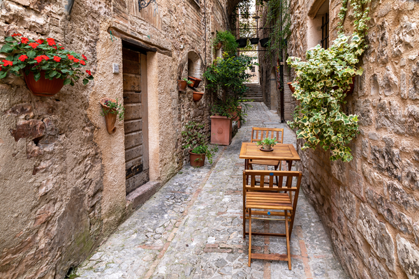 Perugia, Umbria, medieval walled town, ancient town, Spello, Italy