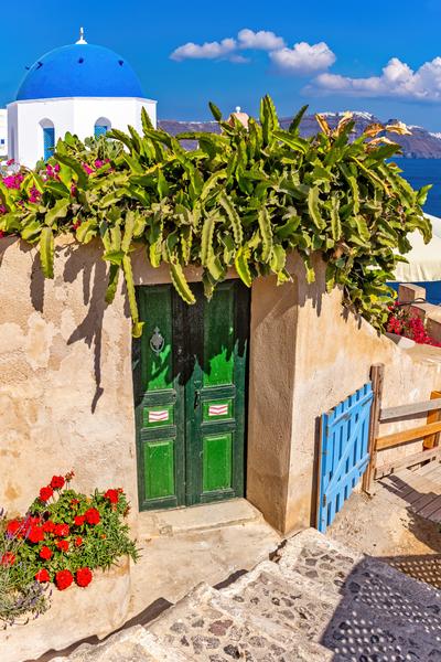 Oia Castle, Sunset Views, Caldera, Blue Domes, Whitewash Buildings, Aegean Sea, Oia, Santorini, Greece