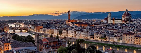 Piazzale Michelangelo, Giuseppe Poggi, museum for Michelangelo's works, David,  Ponte Vecchio,  the Duomo, Palazzo Vecchio, the Bargello, the octagonal bell tower of the Badia Fiorentina, Tuscany