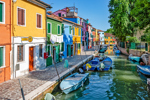 Venetian Canals, Island, Venetian Lagoon, Brightly Coloured Homes, Burano, Italy