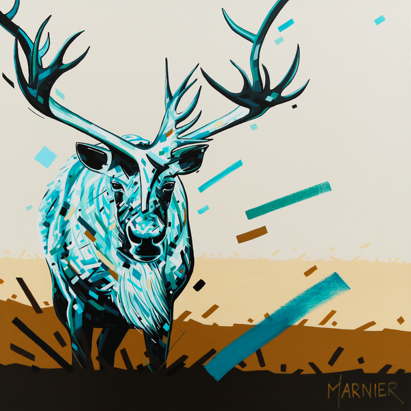 caribou, animal, moose, deer, reindeer, art, print, Marnier, Painting,