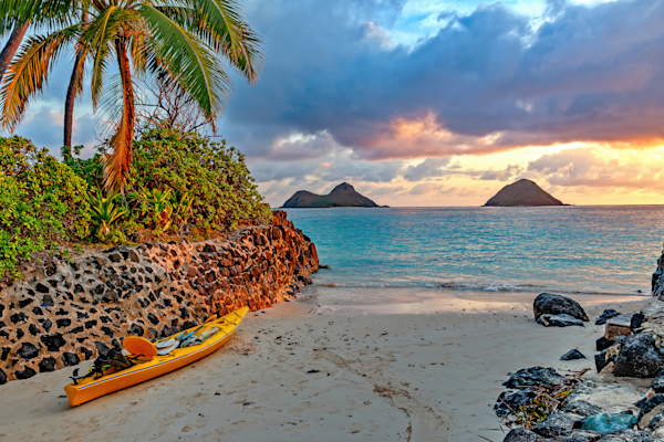 Art Print: The Mokes and Sunset, Lanikai, Hawaii | Louis Cantillo