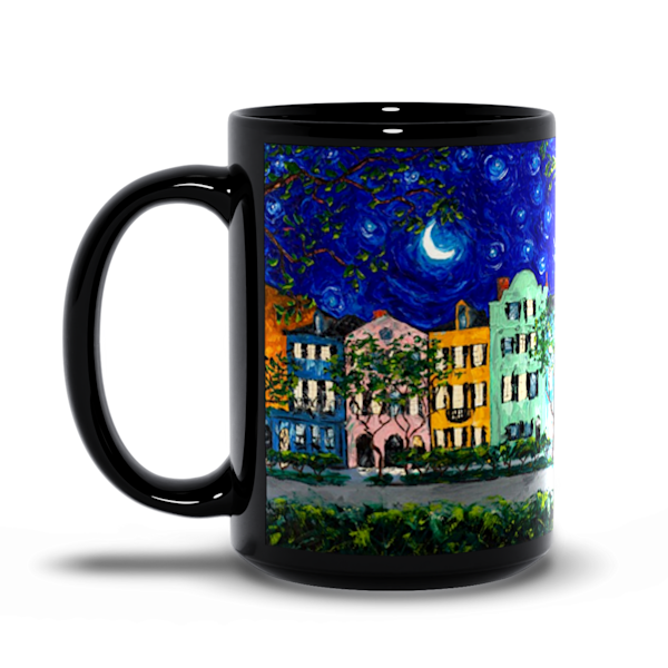 Rainbow Row at Night Coffee Mug 15oz