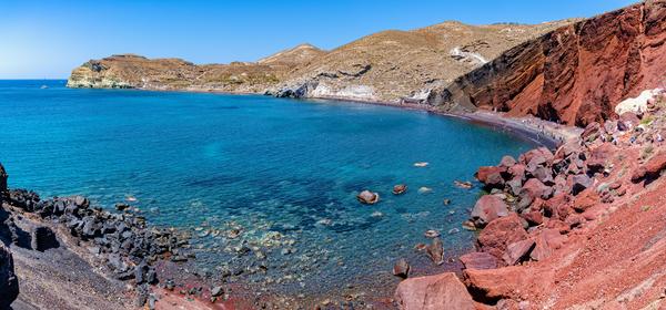 Art Print Photography Red Beach Panoramic Santorini Greece