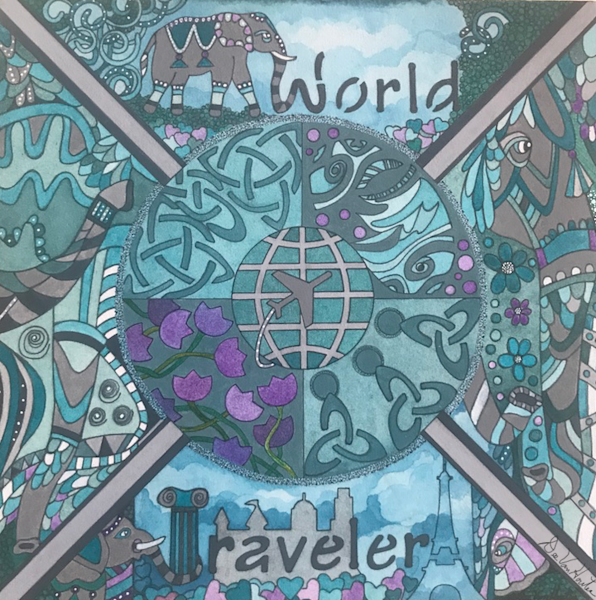 """World Traveler"" LifeExpressions Original Painting by artist, Dee Van Houten"