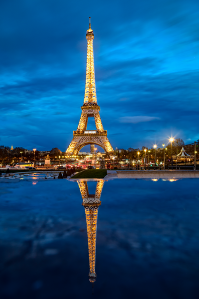 Art Print Anatole Paris France Eiffel Tower and Reflection