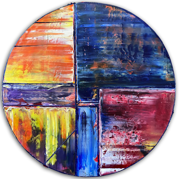 Solstice circular geometrical oil painting