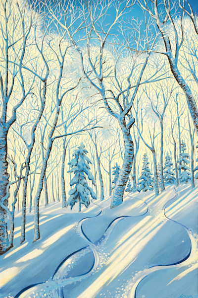 Fresh Tracks Ski Art for Sale