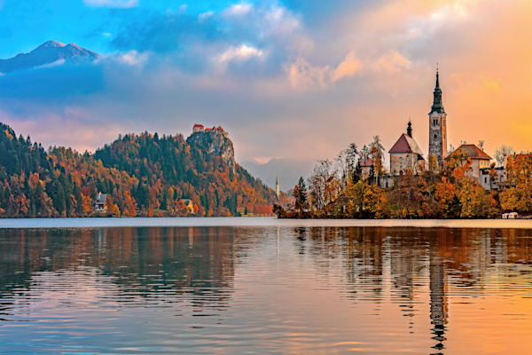 Art Print: Lake Bled Slovenia Lake Bled and Julian Alps