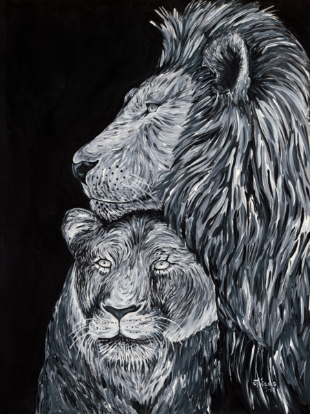 Original Art: Empathy of Lions | Lions of Love - Tufano's Gallery