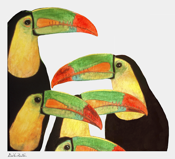 """Toucan Love"" Gouache Painting by Dee Van Houten"
