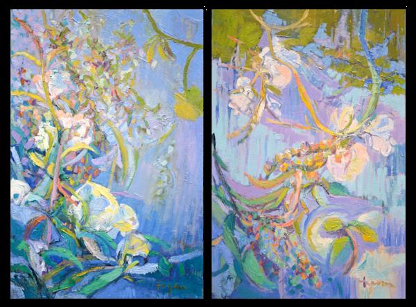Moonflower Oil Painting, Original Art by Dorothy Fagan