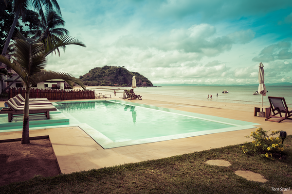Palm Beach hotel pool, Nosy Be, Madagasar, 2019.