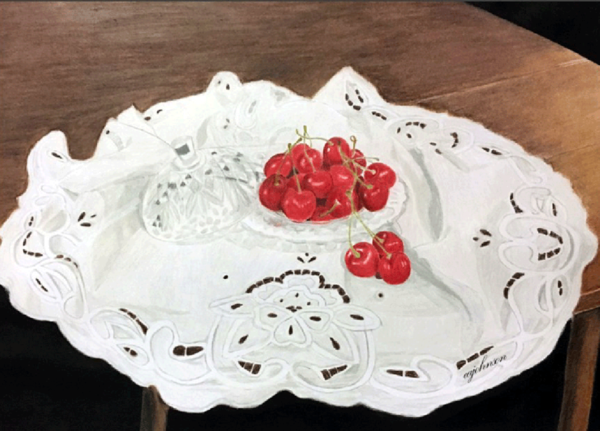 Heirlooms and Cherries, Original Colored Pencil Painting