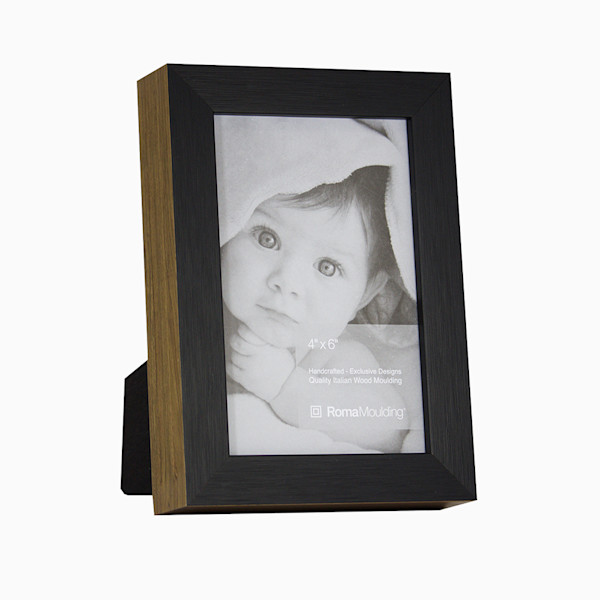 Roma Photo Frame | 4x6 Black Ramino