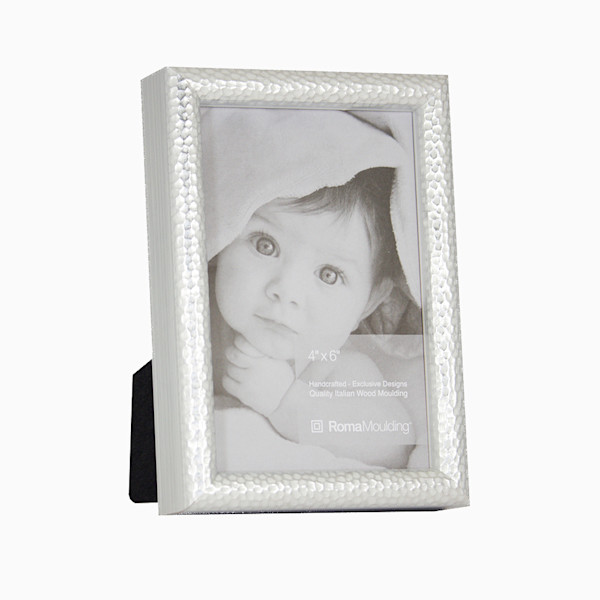 Roma Photo Frame | 4x6 Silver Hammered