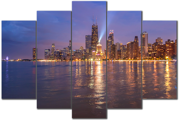 North Avenue Beach View of the Chicago Skyline - 5-Piece Canvas Art
