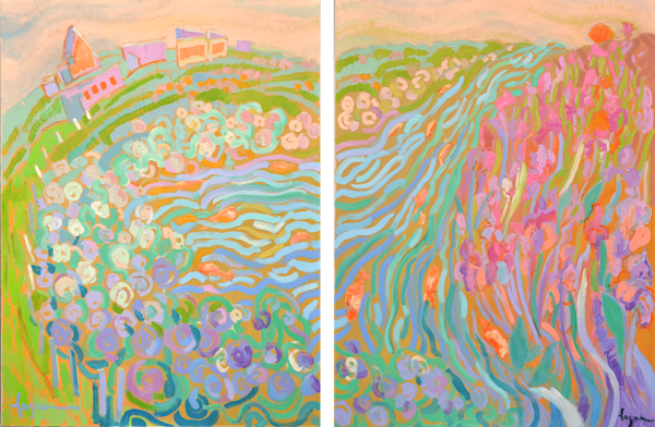All is Well in My Garden by the Sea DIPTYCH