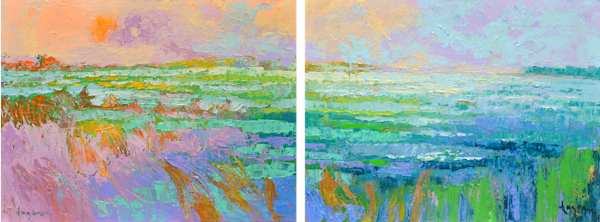 Long Horizontal Ocean View Original Oil Painting by Dorothy Fagan