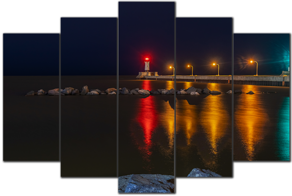 Duluth North Pier Lighthouse - 5-Piece Canvas Art