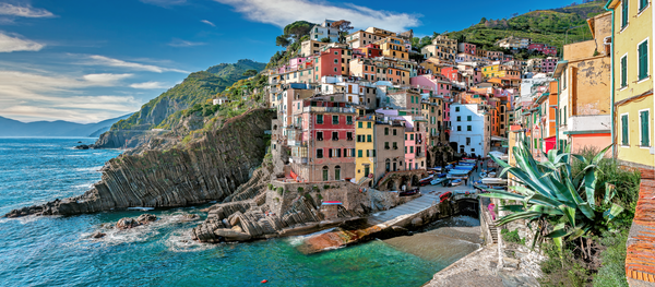 Art Print Panoramic Riomaggiore Cinque Terre Italy Colorful Stone Houses