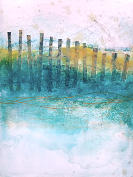 Sand Fences, Spring 2 - Original Abstract Painting & Print | Cynthia Coldren Fine Art