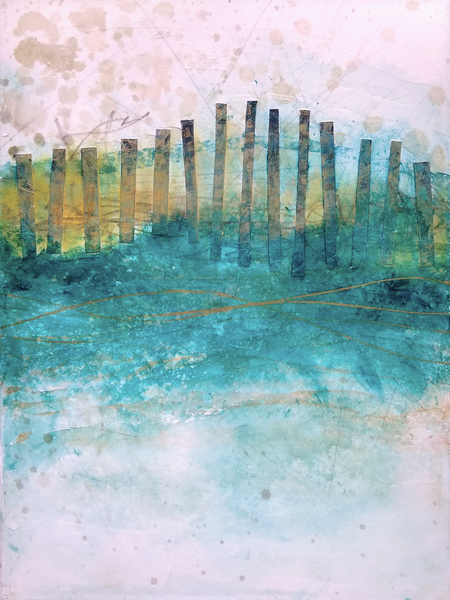 Sand Fences, Winter 2 - Original Abstract Painting & Print | Cynthia Coldren Fine Art